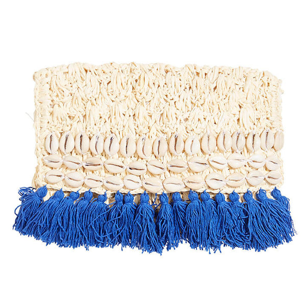 Raffia Shell Clutch with Tassels