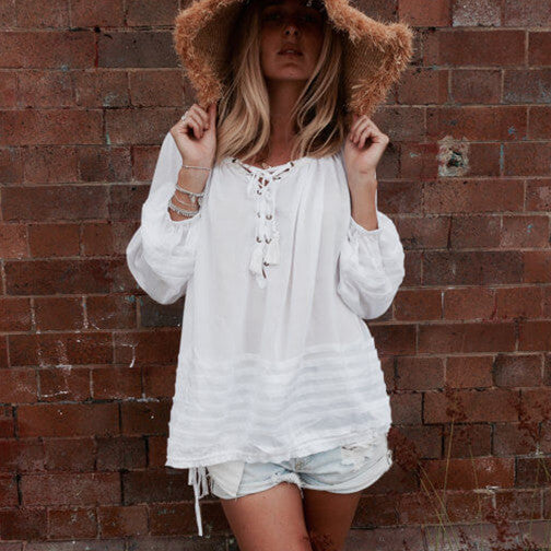 Peasant Lace Up Top