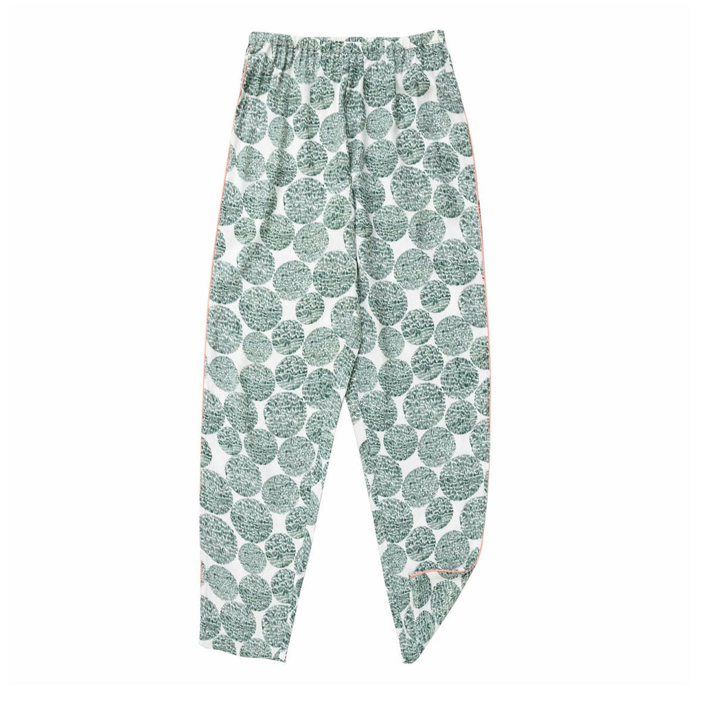 CHARLESTON SILK PJ TROUSER TEAL GREEN