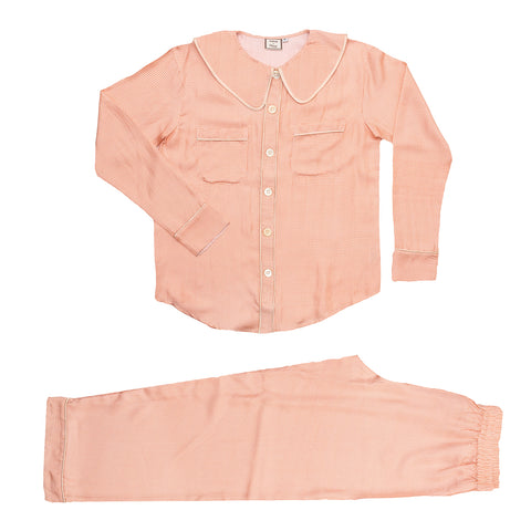 Constance Blush Check Silk PJs