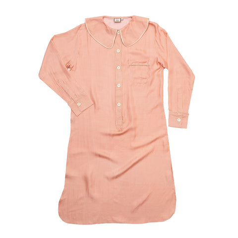 Constance Blush Check Silk Nightshirt
