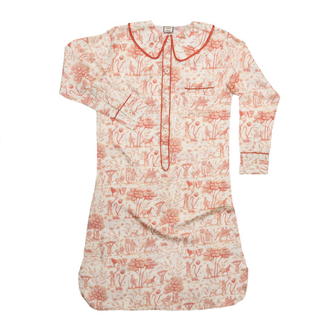 French Pink Toile Silk Nightshirt