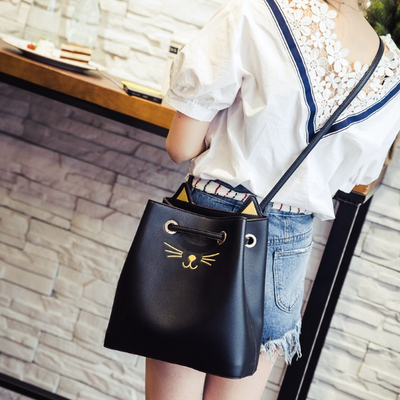 Kitty Cat Leather Tote Bag