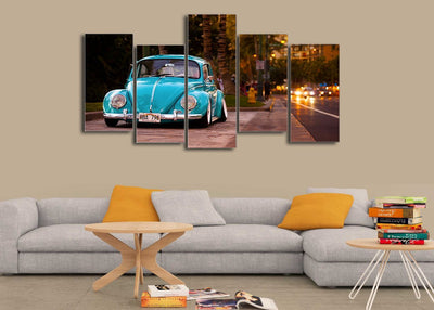 HD Printed Blue Beetle VW Canvas Painting