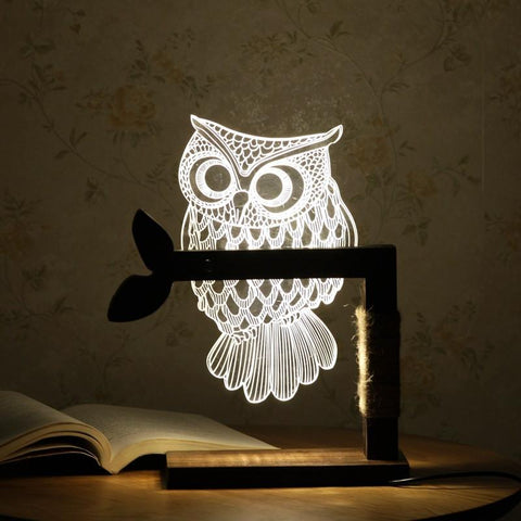 Cute 3D White Owl Nightlight