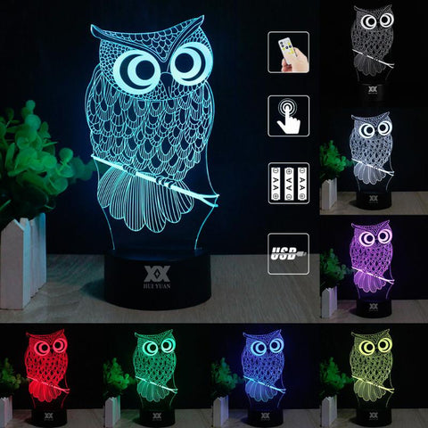 Cute 7-Colour LED Owl Night Light