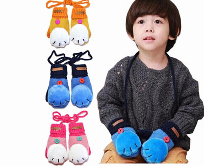 Kids Cat Paw Mittens