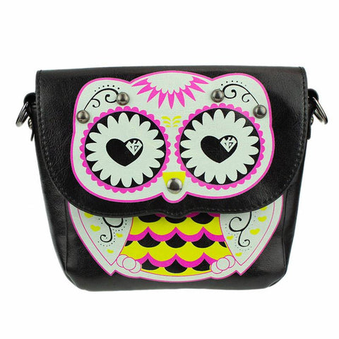 Sugar Skull Owl Messenger Bag