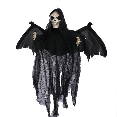 Animated Flying Hanging Ghost with Red Eyes Scary Sound and Moving Halloween Decoration