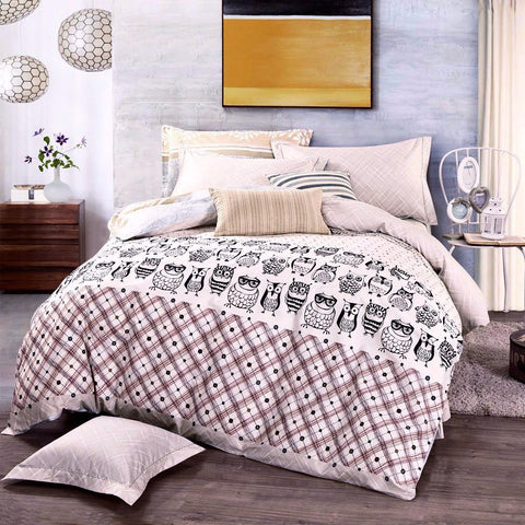 100% Cotton Nerdy Owl Bedding Set