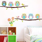 DIY Colorful Owls Wall Sticker