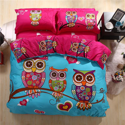 100% Cotton Colourful Owl Bedding Set