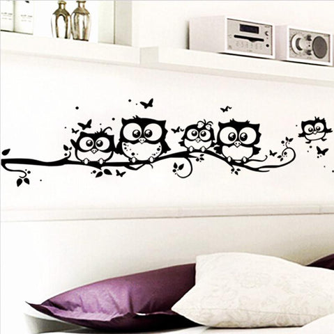 DIY Black Owl Wall Sticker