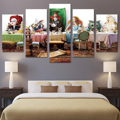 5 Panels Canvas Alice In Wonderland Art Painting