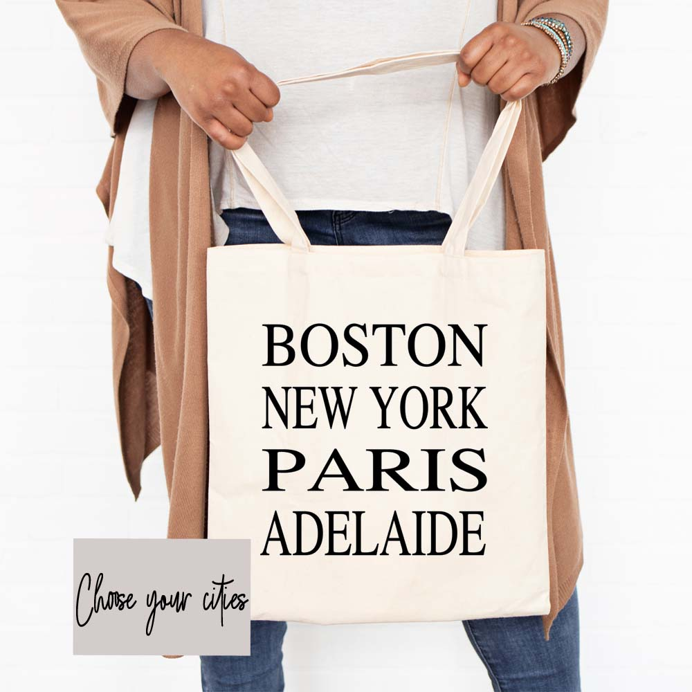 Choose Your Cities Subway Canvas Tote Bag