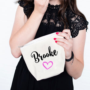 Heart Personalised Cosmetic Bag