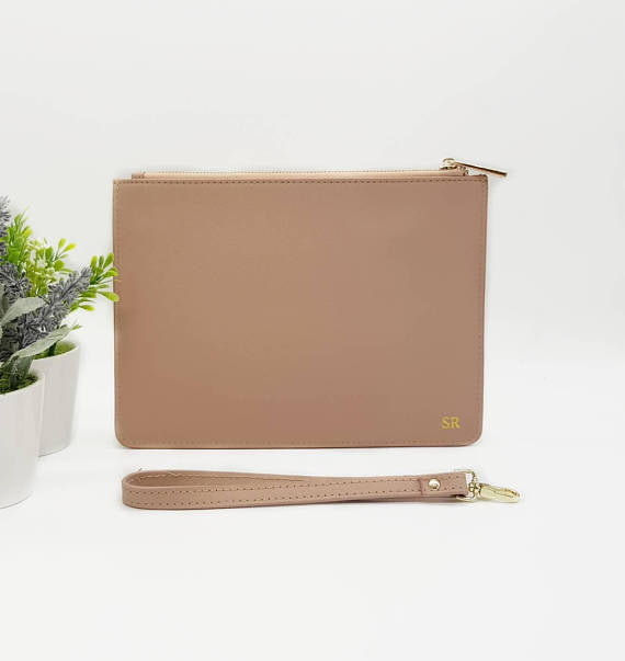 Nude Monogrammed Leather Clutch