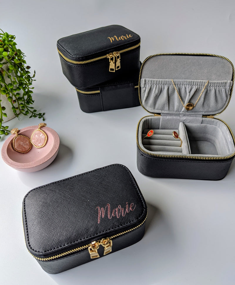Black Personalised Jewellery box