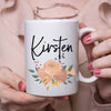 Personalised Peach flower Mug