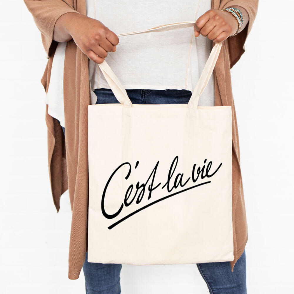 C'est La Vie French Canvas Tote Bag
