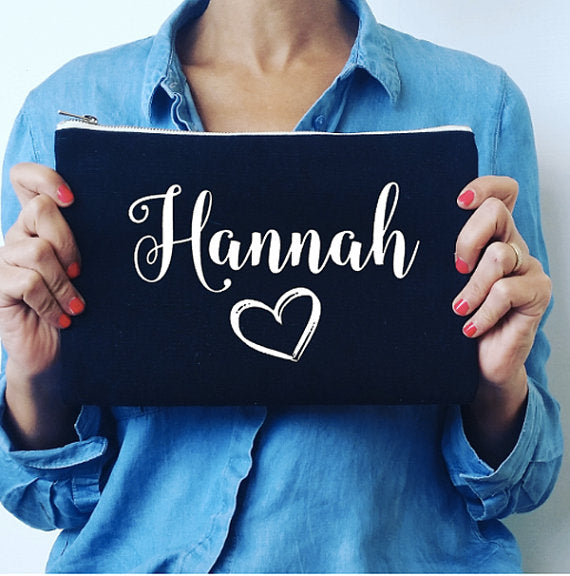 Personalised Black Makeup Bag