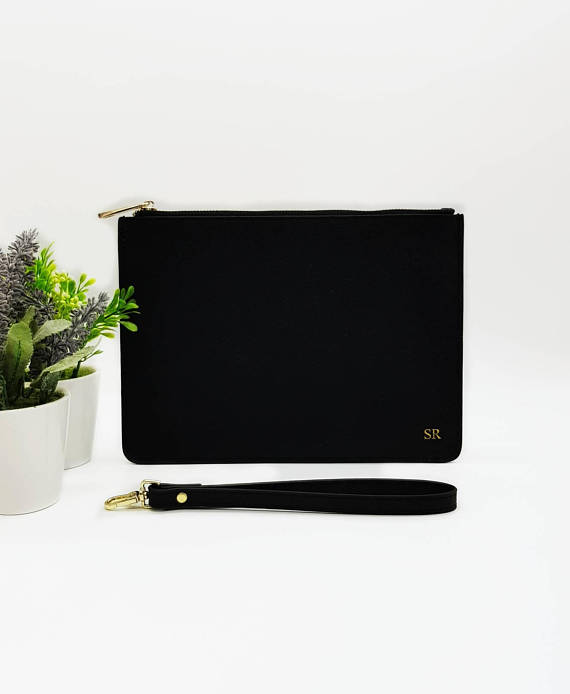 Black Monogrammed Leather Clutch