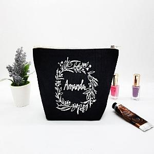 Personalised Black Cosmetic Bag