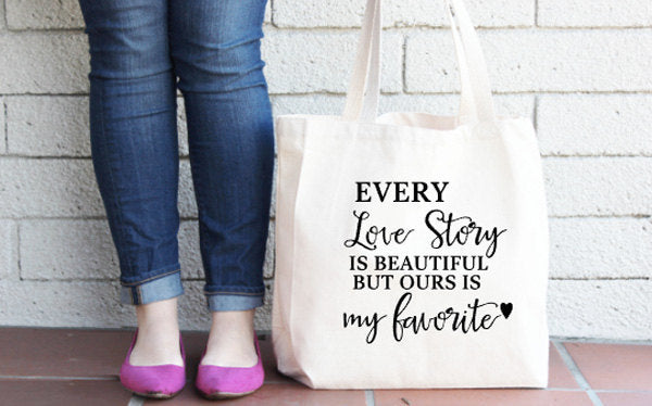 Oversized Love story tote bag