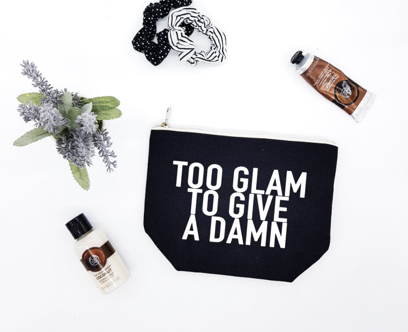 Too Glam To Give A Damn black make-up bag