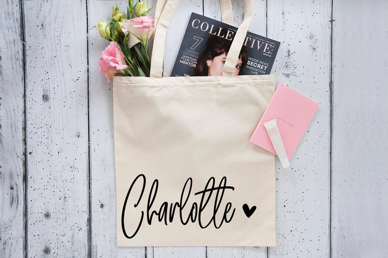 Name heart Personalised Tote Bag