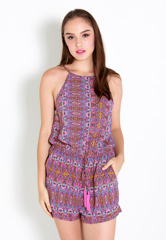 Beck Printed Romper – ll2251 (Red)
