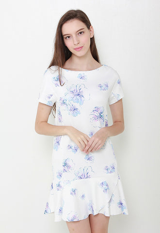 Caily Floral Mermaid Dress – LL2087 (White)