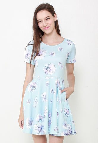 Sweetheart Floral Dress-LL2084 (Blue)