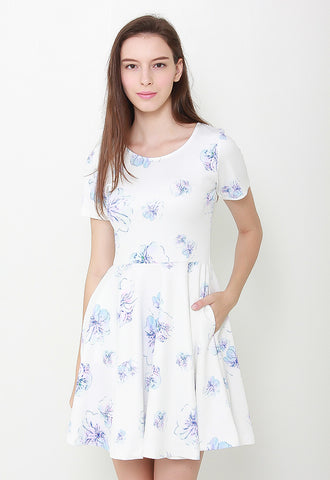 Sweetheart Floral Dress-LL2084 (White)
