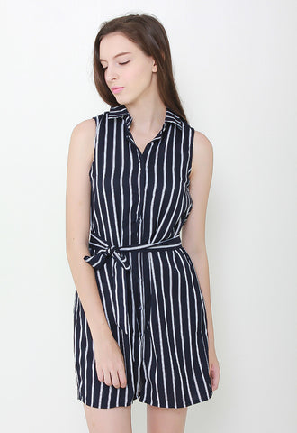 Cae Stripes Collar Dress - LL2083