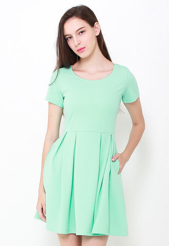Mindy Textured Skater Dress – LL2088 (Green)