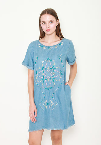 Adalynn Embroidery Denim Shift Dress - ll3114