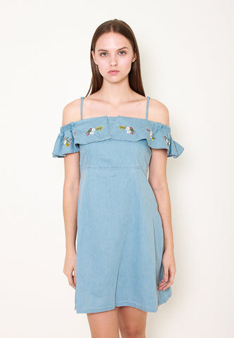 Ruth Denim OffShoulder Dress - ll3166