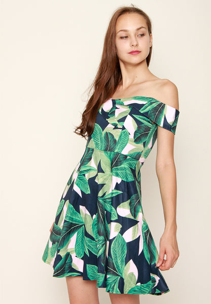 Elena Floral OffShoulder Dress – ll3031 Blue