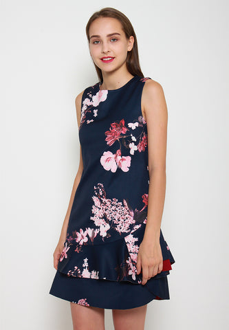 Harley Floral Ruffles Dress - ll3093 (Blue)
