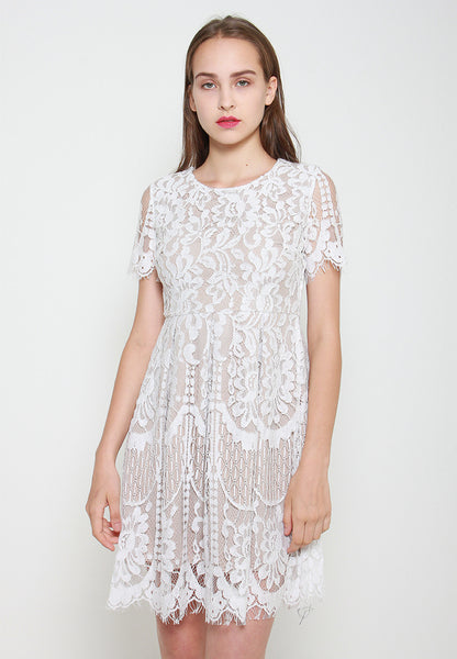 Mira Lace Dress - ll3074 White