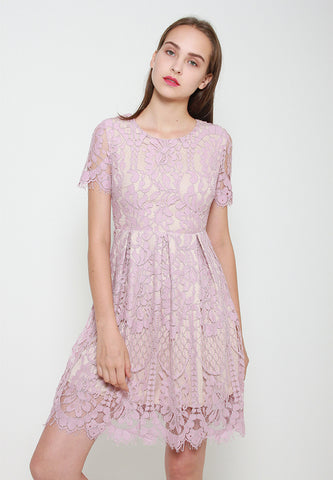 Mira Lace Dress - ll3074 Pink