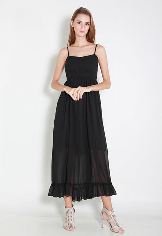 Allyson Maxi Chiffon Dress – ll2778 Black