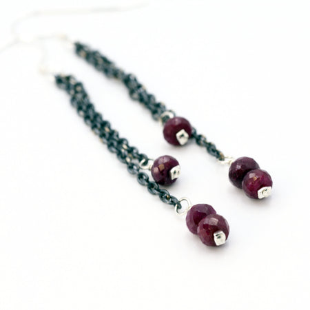 Dagger and Tourmaline Drop Earrings