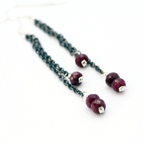 silver and red ruby earrings