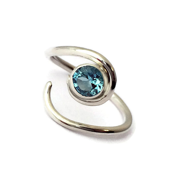 aquamarine and silver twist ring