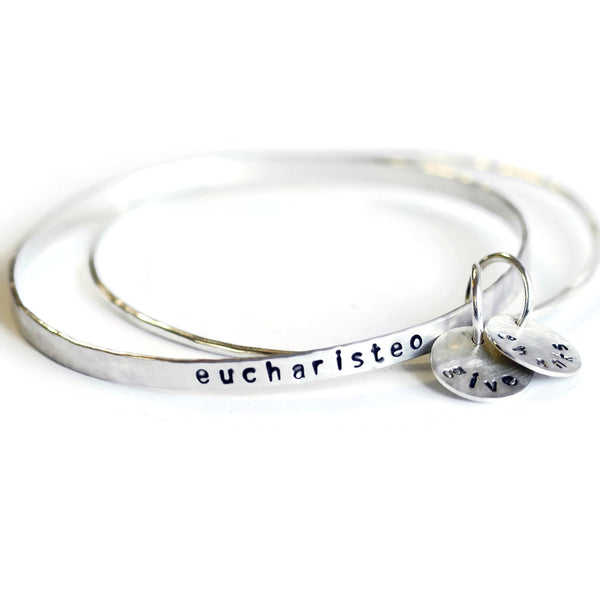 custom personalized stacking bangle bracelet set
