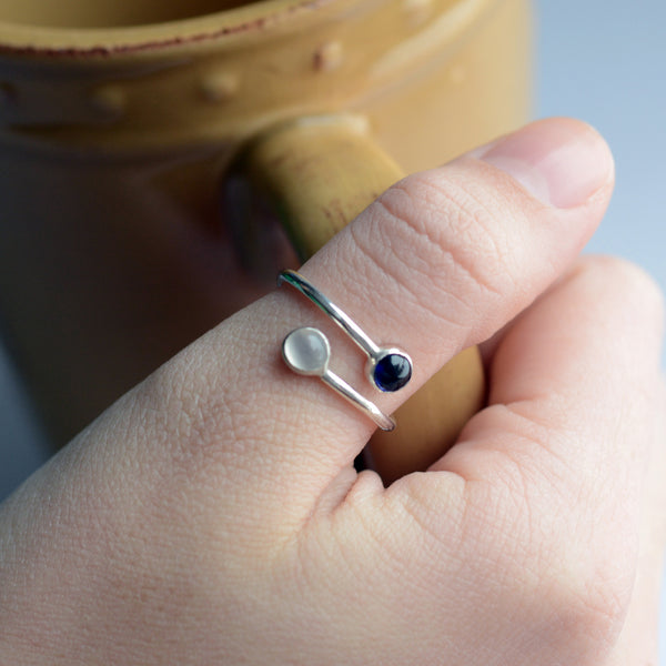 dual birthstone ring mom ring girlfriend gift