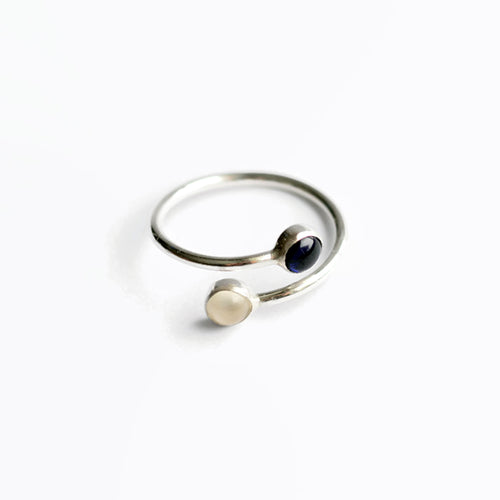 silver dual birthstone ring mom ring girlfriend gift