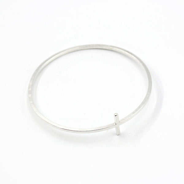 silver cross bangle bracelet